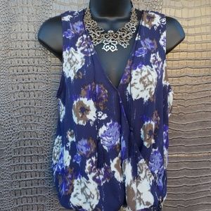 LEITH NAVY FLORAL FAUX WRAP TOP WITH TASSELS*339
